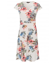 Jerseykleid, tropical summer, ecru