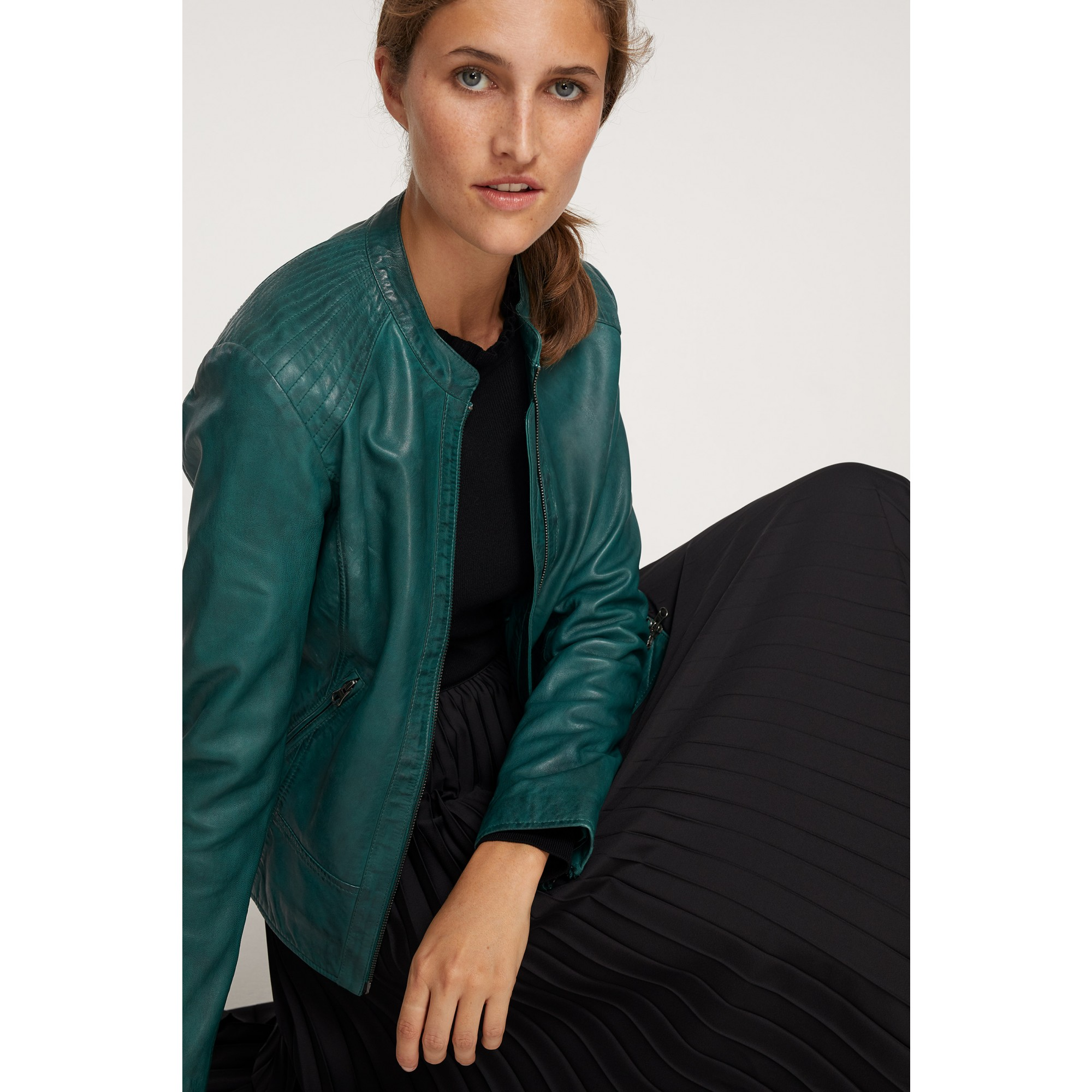 Lederjacke, emerald green 91098000-0655
