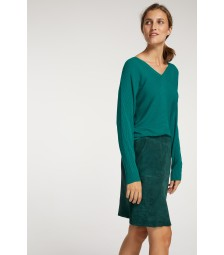 Velourslederrock, emerald green 91098002-0655